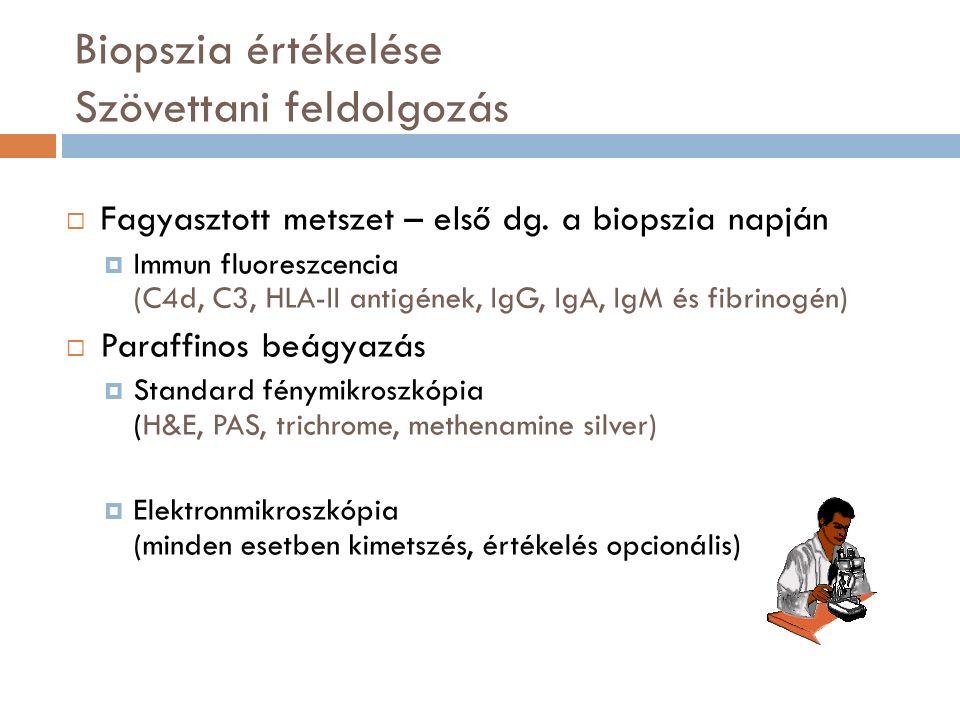 Biopszia értékelése Szövettani feldolgozás  Fagyasztott metszet – első dg.