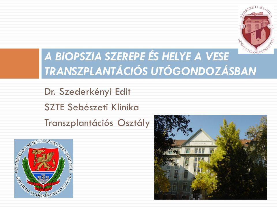 Dr. Szederkényi Edit SZTE Sebészeti Klinika Transzplantációs Osztály A BIOPSZIA SZEREPE ÉS HELYE A VESE TRANSZPLANTÁCIÓS UTÓGONDOZÁSBAN