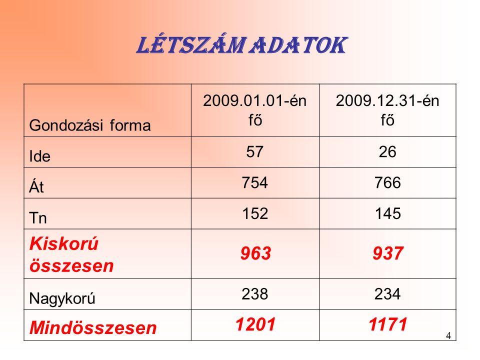 4 Létszám adatok Gondozási forma 2009.01.01-én fő 2009.12.31-én fő Ide 5726 Át 754766 Tn 152145 Kiskorú összesen 963937 Nagykorú 238234 Mindösszesen 1