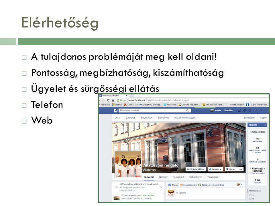 Elérhetőség  A tulajdonos problémáját meg kell oldani!  Pontosság, megbízhatóság, kiszámíthatóság  Ügyelet és sürgősségi ellátás  Telefon  Web