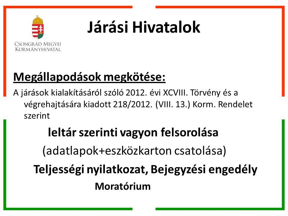 Járási Hivatalok Megállapodások megkötése: A járások kialakításáról szóló 2012.