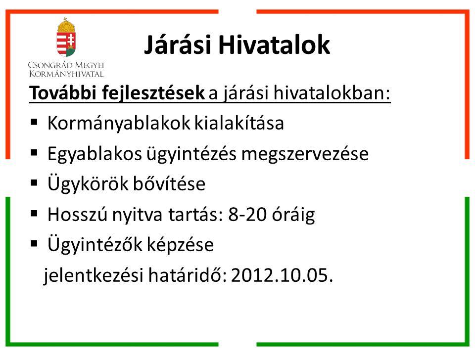 Járási Hivatalok További fejlesztések a járási hivatalokban:  Kormányablakok kialakítása  Egyablakos ügyintézés megszervezése  Ügykörök bővítése  Hosszú nyitva tartás: 8-20 óráig  Ügyintézők képzése jelentkezési határidő: 2012.10.05.
