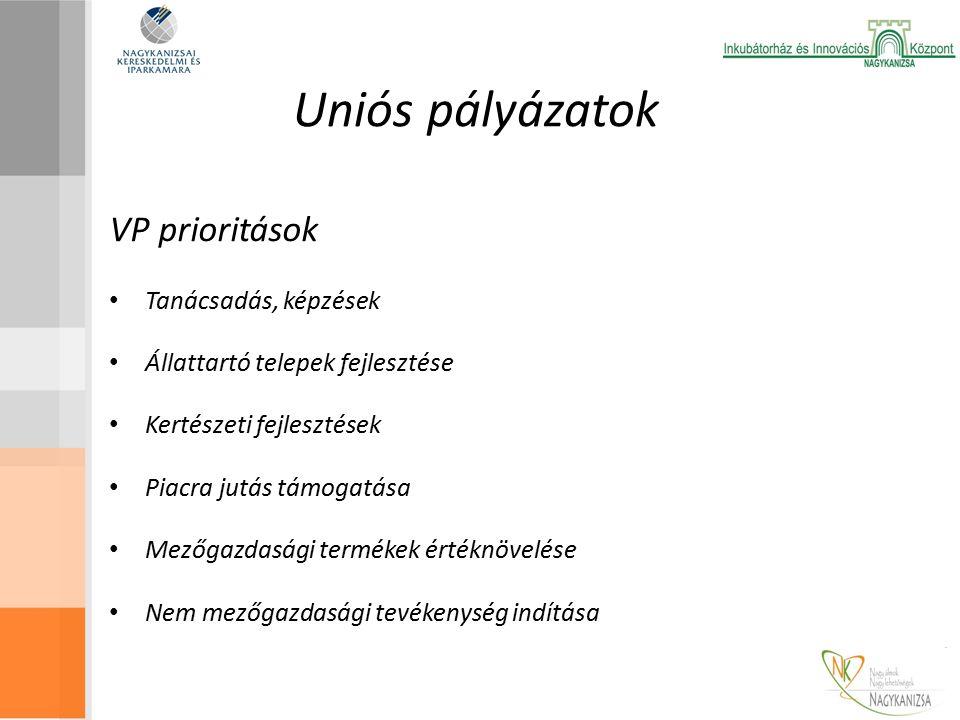 Uniós pályázatok VP prioritások Tanácsadás, képzések Állattartó telepek fejlesztése Kertészeti fejlesztések Piacra jutás támogatása Mezőgazdasági termékek értéknövelése Nem mezőgazdasági tevékenység indítása