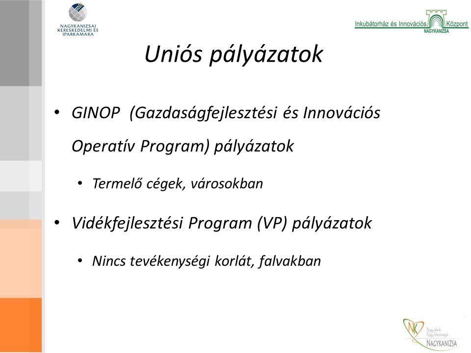 Uniós pályázatok GINOP (Gazdaságfejlesztési és Innovációs Operatív Program) pályázatok Termelő cégek, városokban Vidékfejlesztési Program (VP) pályázatok Nincs tevékenységi korlát, falvakban
