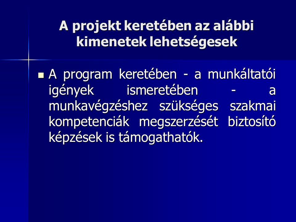 A projekt keretében az alábbi kimenetek lehetségesek A program keretében - a munkáltatói igények ismeretében - a munkavégzéshez szükséges szakmai kompetenciák megszerzését biztosító képzések is támogathatók.