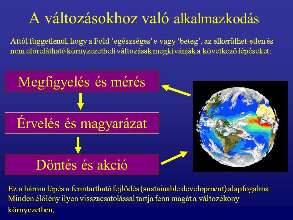 A Föld megfigyelése és mérése A földtudományok szakemberei mérik a Föld globális hőmérsékletét, a levegő kémiai összetételét, a felhősséget és a Föld sok más életre fontos jelzőit.