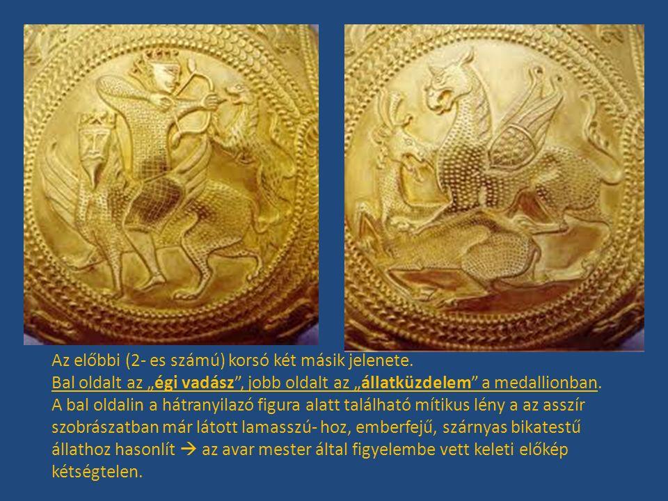 """Az előbbi (2- es számú) korsó két másik jelenete. Bal oldalt az """"égi vadász"""", jobb oldalt az """"állatküzdelem"""" a medallionban. A bal oldalin a hátranyil"""