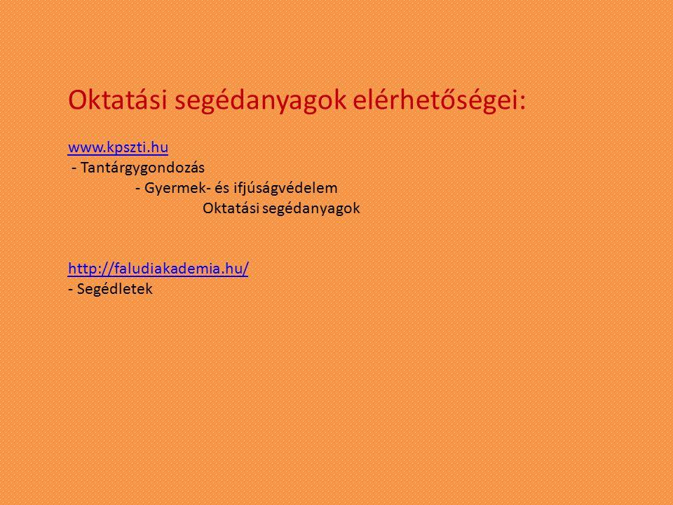 Oktatási segédanyagok elérhetőségei: www.kpszti.hu - Tantárgygondozás - Gyermek- és ifjúságvédelem Oktatási segédanyagok http://faludiakademia.hu/ - S