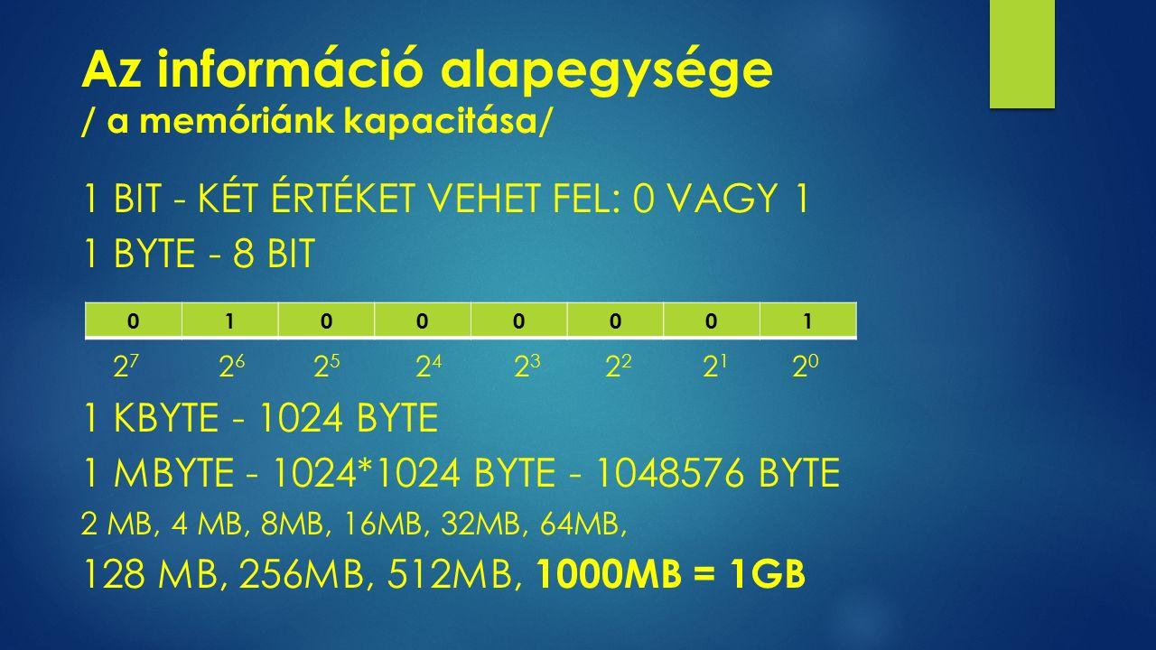 Az információ alapegysége / a memóriánk kapacitása/ 1 BIT - KÉT ÉRTÉKET VEHET FEL: 0 VAGY 1 1 BYTE - 8 BIT 2 7 2 6 2 5 2 4 2 3 2 2 2 1 2 0 1 KBYTE - 1