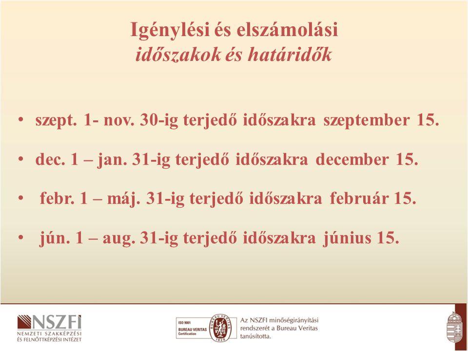 Igénylési és elszámolási időszakok és határidők szept. 1- nov. 30-ig terjedő időszakra szeptember 15. dec. 1 – jan. 31-ig terjedő időszakra december 1