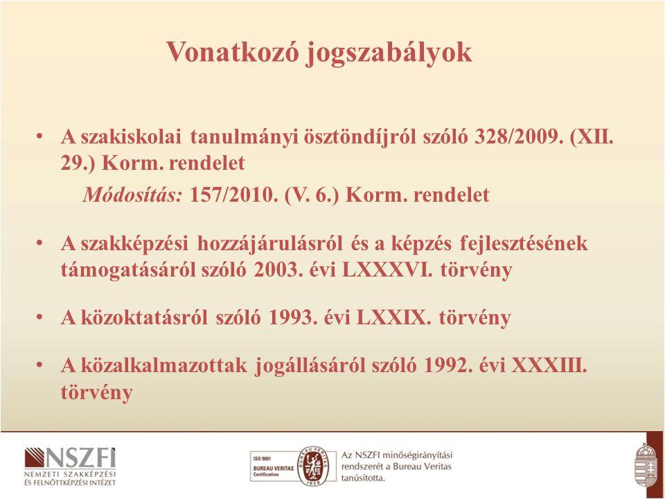 A szakiskolai tanulmányi ösztöndíjról szóló 328/2009. (XII. 29.) Korm. rendelet Módosítás: 157/2010. (V. 6.) Korm. rendelet A szakképzési hozzájárulás