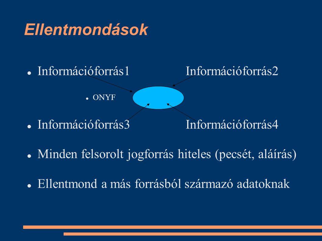 Ellentmondások Információforrás1Információforrás2 ONYF Információforrás3Információforrás4 Minden felsorolt jogforrás hiteles (pecsét, aláírás) Ellentm