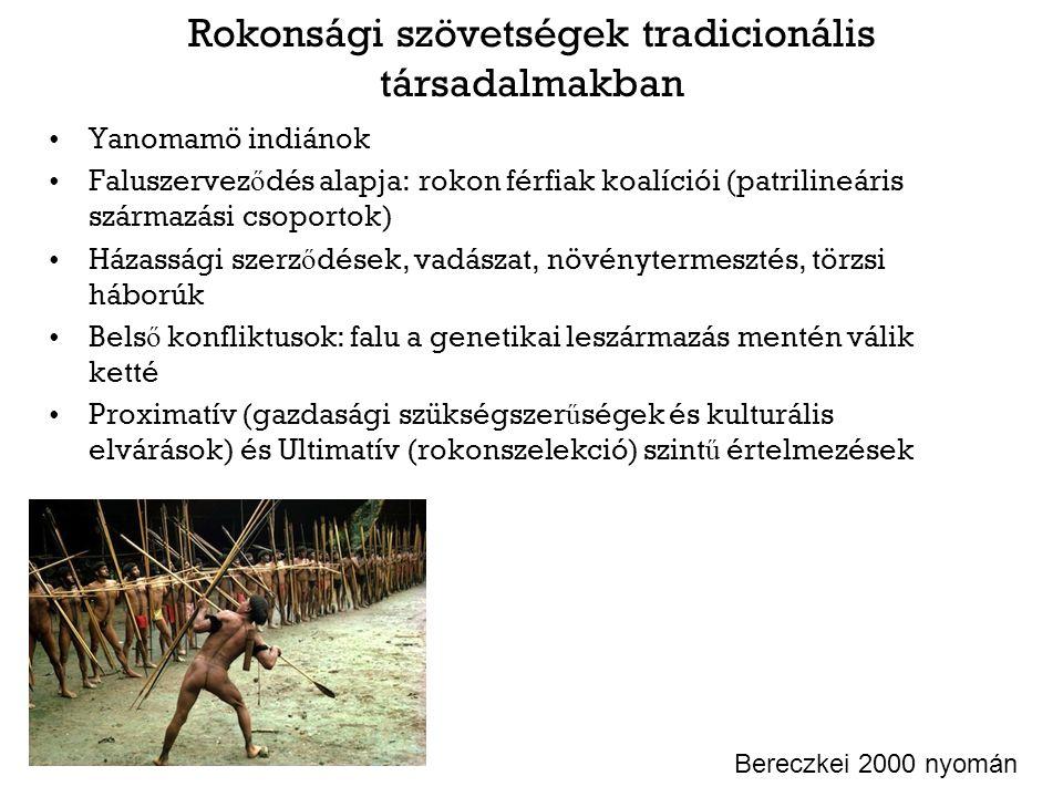 Rokonsági szövetségek tradicionális társadalmakban Yanomamö indiánok Faluszervez ő dés alapja: rokon férfiak koalíciói (patrilineáris származási csopo