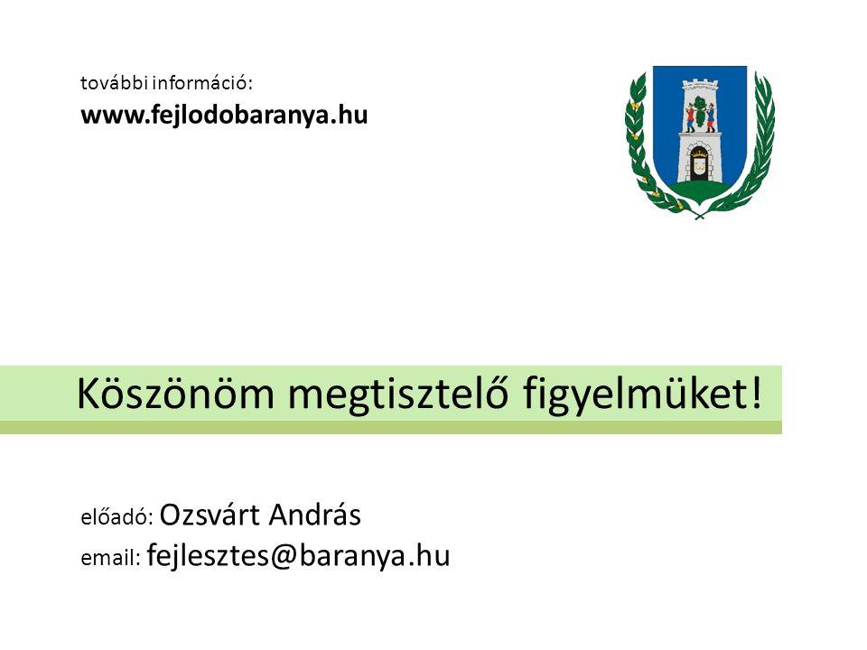 Köszönöm megtisztelő figyelmüket! előadó: Ozsvárt András email: fejlesztes@baranya.hu további információ: www.fejlodobaranya.hu