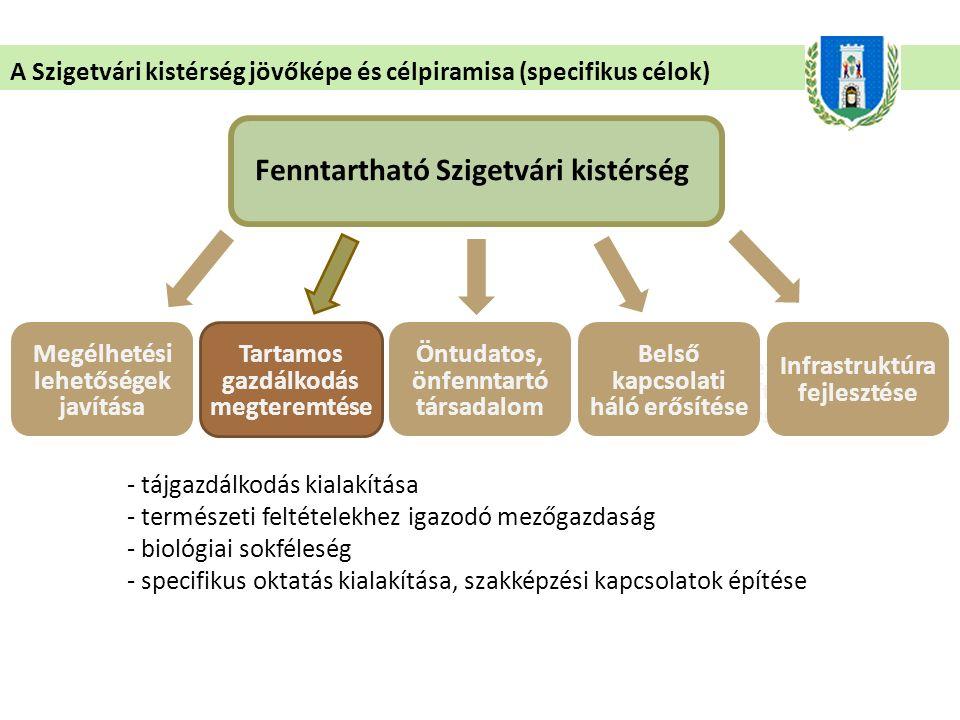 - saját, magas színvonalú érdekképviselete a helyi közösségnek - önfenntartásra való törekvés meggyőződésből - szerveződés a kistérségen belüli erőforrásokra alapozva A Szigetvári kistérség jövőképe és célpiramisa (specifikus célok) Fenntartható Szigetvári kistérség Megélhetési lehetőségek javítása Természeti adottságokat hasznosító és fenntartó társadalom Tartamos gazdálkodás megteremtése Öntudatos, önfenntartó társadalom Belső kapcsolati háló erősítése Infrastruktúra fejlesztése