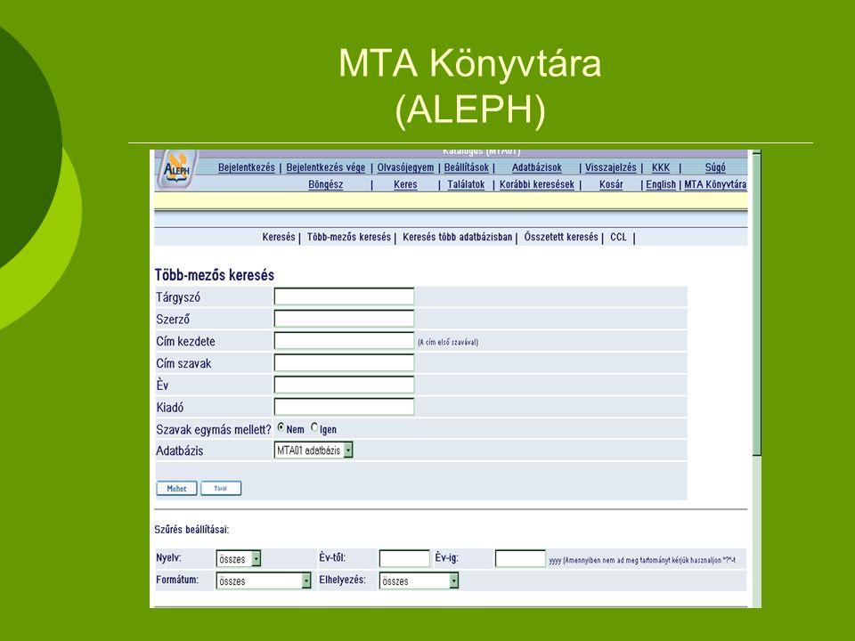 MTA Könyvtára (ALEPH)