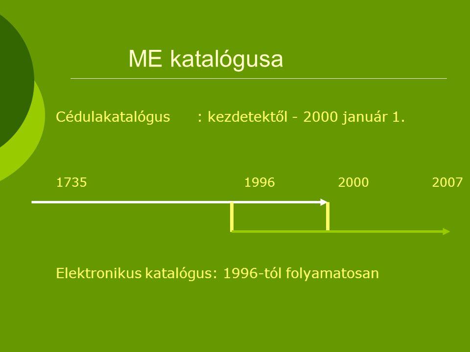 ME katalógusa Cédulakatalógus: kezdetektől - 2000 január 1.