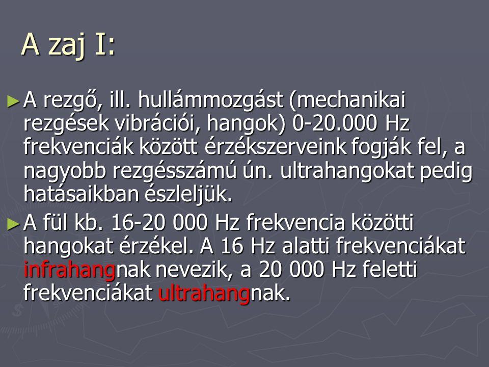 A zaj I: ► A rezgő, ill. hullámmozgást (mechanikai rezgések vibrációi, hangok) 0-20.000 Hz frekvenciák között érzékszerveink fogják fel, a nagyobb rez