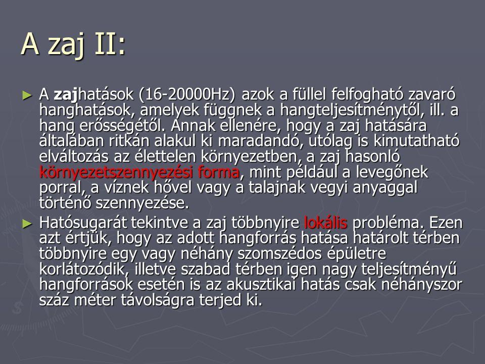 A zaj II: ► A zajhatások (16-20000Hz) azok a füllel felfogható zavaró hanghatások, amelyek függnek a hangteljesítménytől, ill.