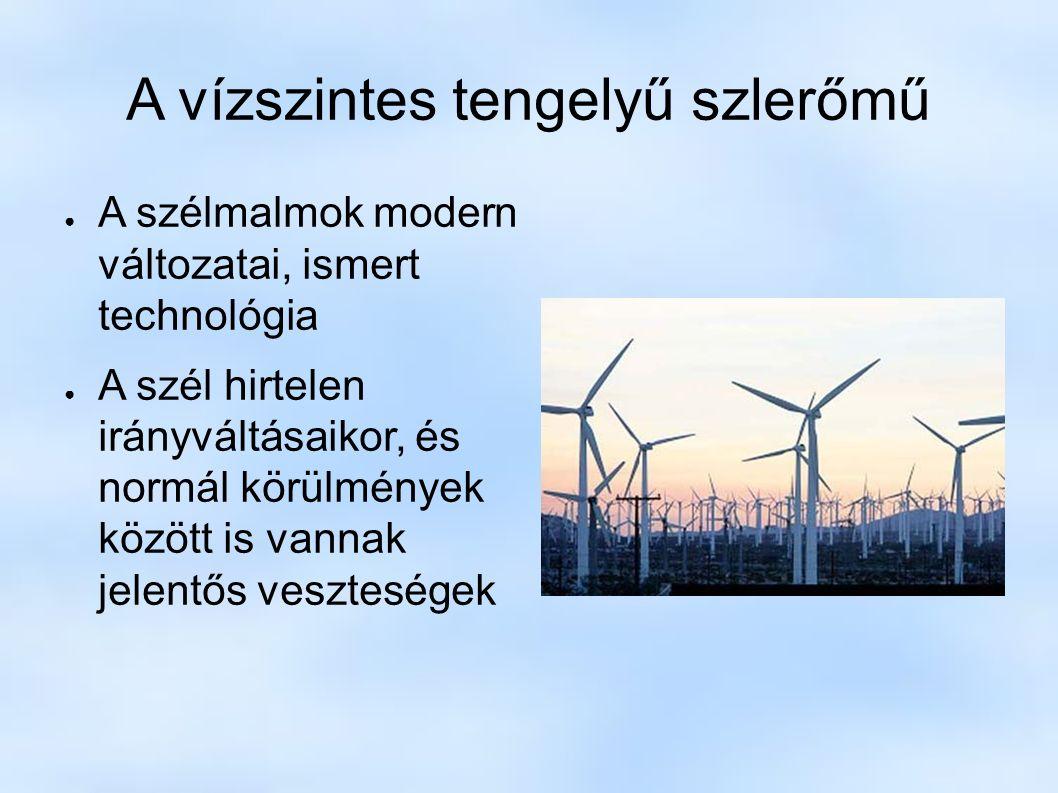 A vízszintes tengelyű szlerőmű ● A szélmalmok modern változatai, ismert technológia ● A szél hirtelen irányváltásaikor, és normál körülmények között is vannak jelentős veszteségek