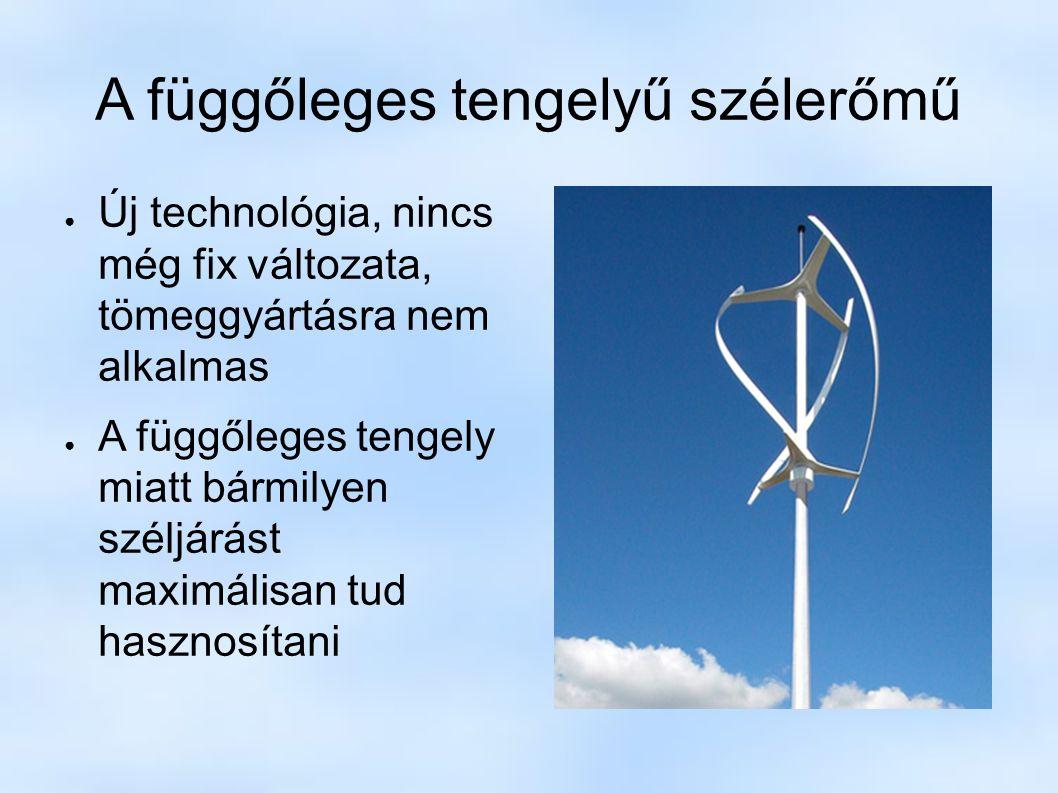 A függőleges tengelyű szélerőmű ● Új technológia, nincs még fix változata, tömeggyártásra nem alkalmas ● A függőleges tengely miatt bármilyen széljárást maximálisan tud hasznosítani