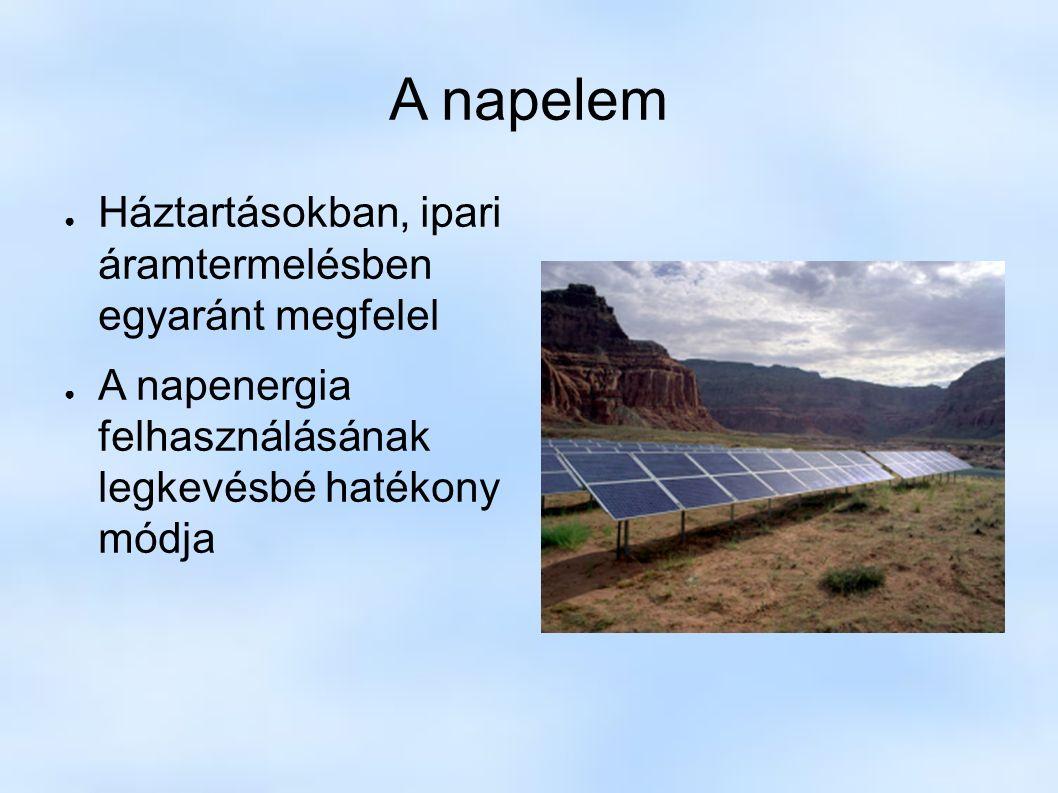 A napelem ● Háztartásokban, ipari áramtermelésben egyaránt megfelel ● A napenergia felhasználásának legkevésbé hatékony módja