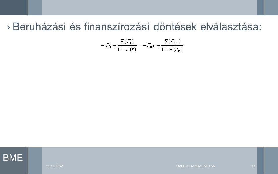 BME 2015. ŐSZÜZLETI GAZDASÁGTAN17 ›Beruházási és finanszírozási döntések elválasztása:
