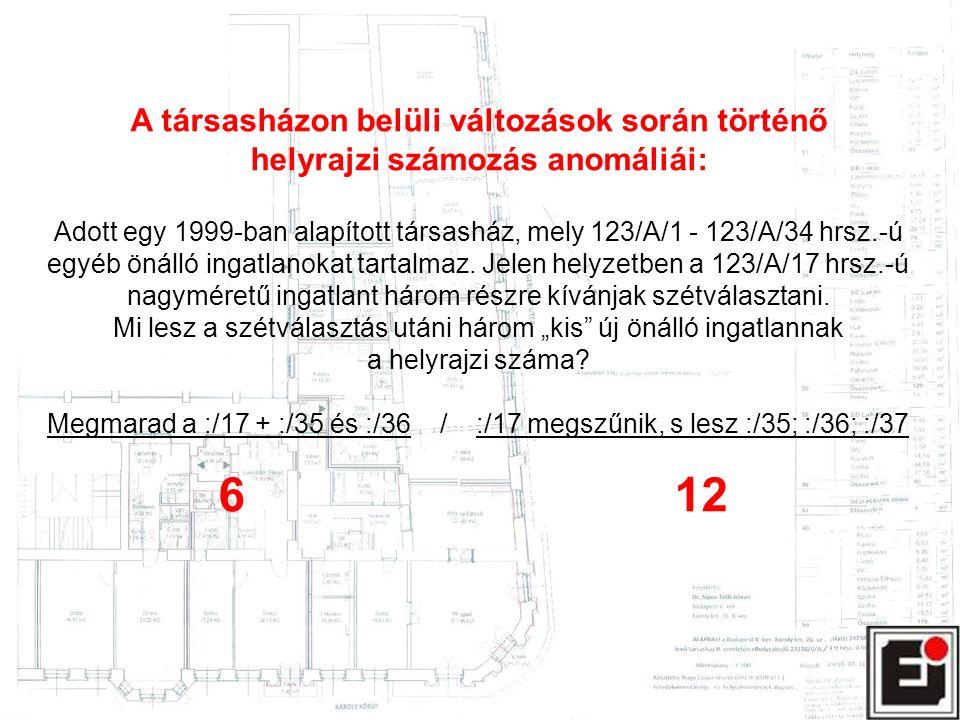 A társasházon belüli változások során történő helyrajzi számozás anomáliái: Adott egy 1999-ban alapított társasház, mely 123/A/1 - 123/A/34 hrsz.-ú egyéb önálló ingatlanokat tartalmaz.