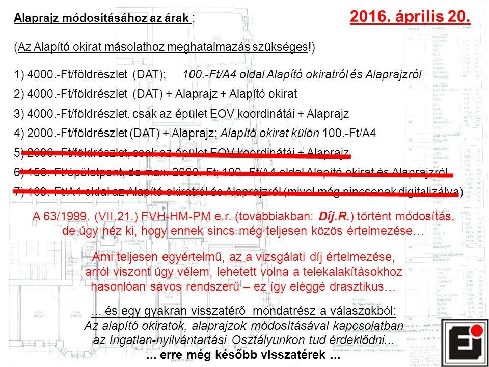 Alaprajz módosításához az árak : 2016. április 20. (Az Alapító okirat másolathoz meghatalmazás szükséges!) 1) 4000.-Ft/földrészlet (DAT); 100.-Ft/A4 o