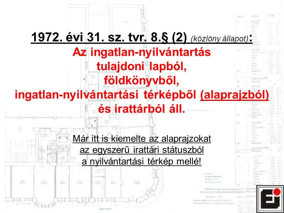 1972. évi 31. sz. tvr. 8.§ (2) (közlöny állapot) : Az ingatlan-nyilvántartás tulajdoni lapból, földkönyvből, ingatlan-nyilvántartási térképből (alapra