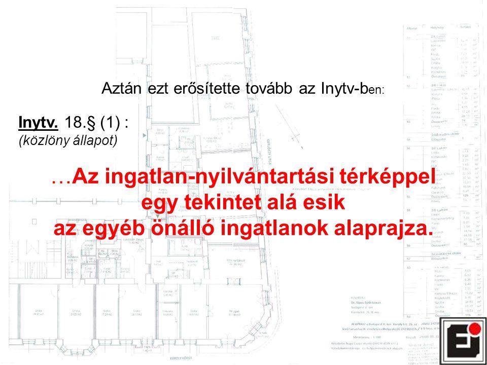 Aztán ezt erősítette tovább az Inytv-b en: Inytv. 18.§ (1) : (közlöny állapot) …Az ingatlan-nyilvántartási térképpel egy tekintet alá esik az egyéb ön
