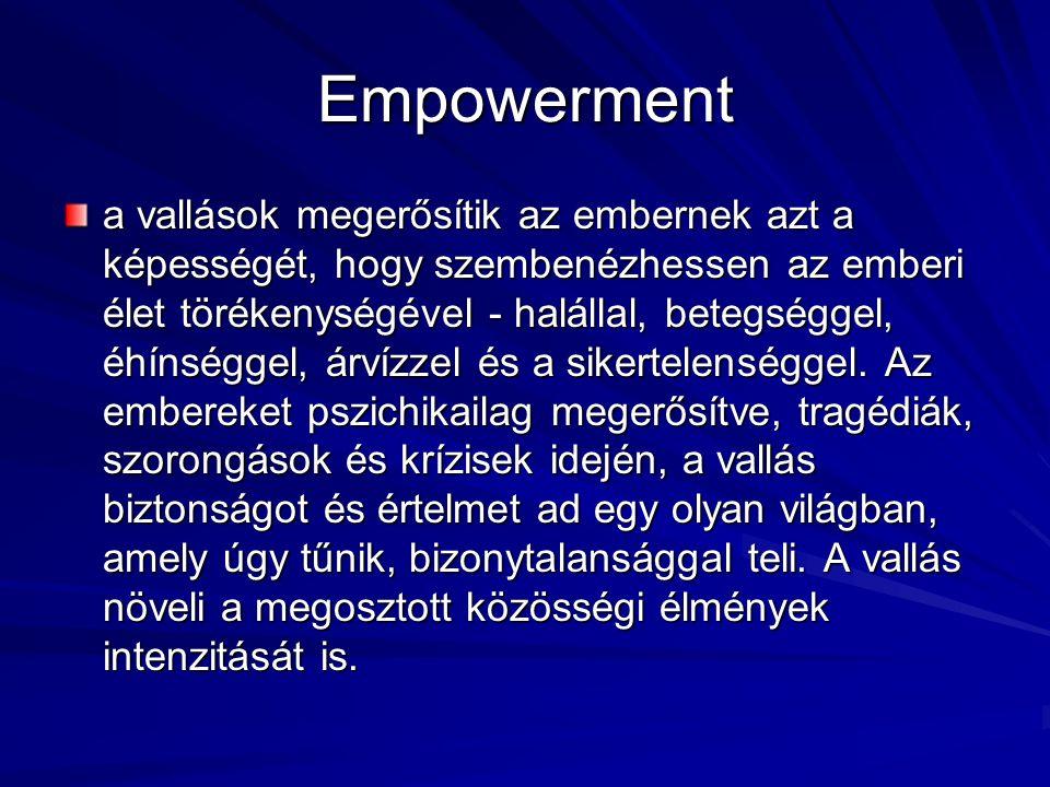 Empowerment a vallások megerősítik az embernek azt a képességét, hogy szembenézhessen az emberi élet törékenységével - halállal, betegséggel, éhínséggel, árvízzel és a sikertelenséggel.