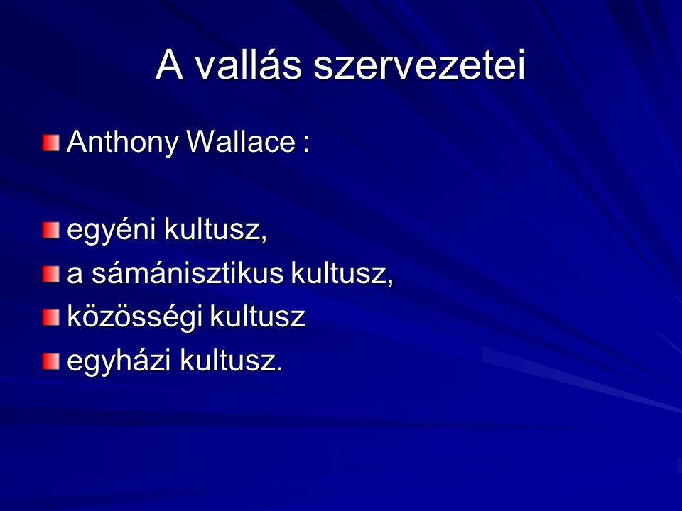 A vallás szervezetei Anthony Wallace : egyéni kultusz, a sámánisztikus kultusz, közösségi kultusz egyházi kultusz.