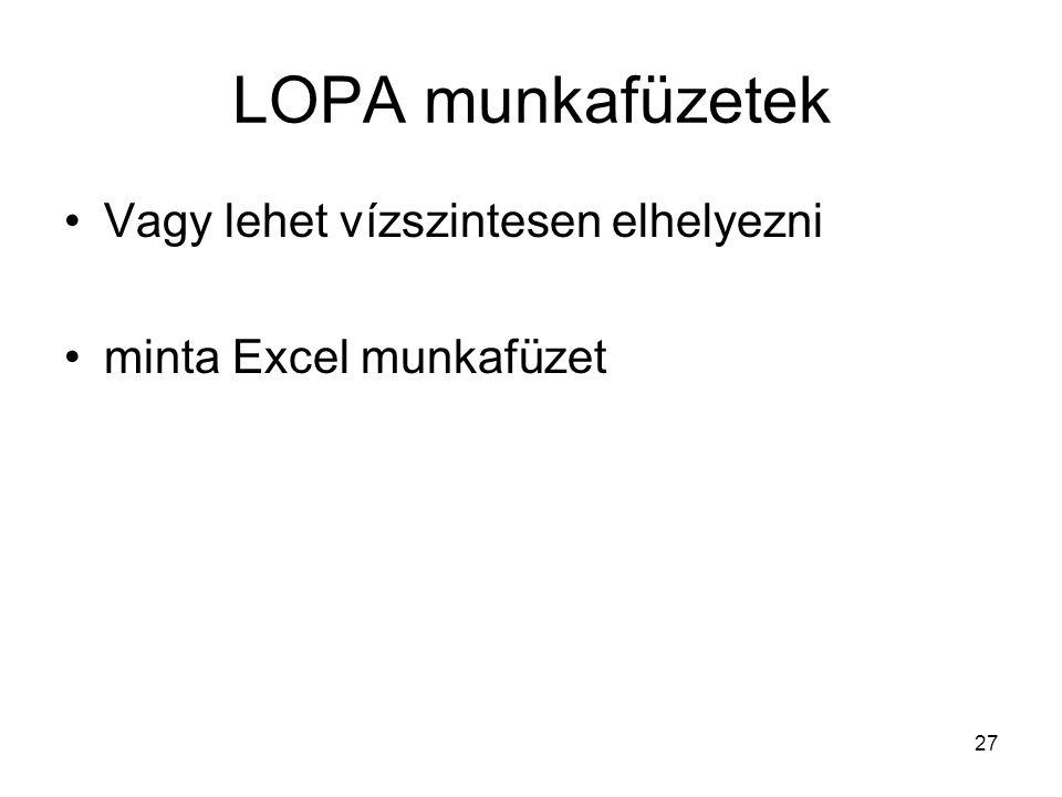 27 LOPA munkafüzetek Vagy lehet vízszintesen elhelyezni minta Excel munkafüzet
