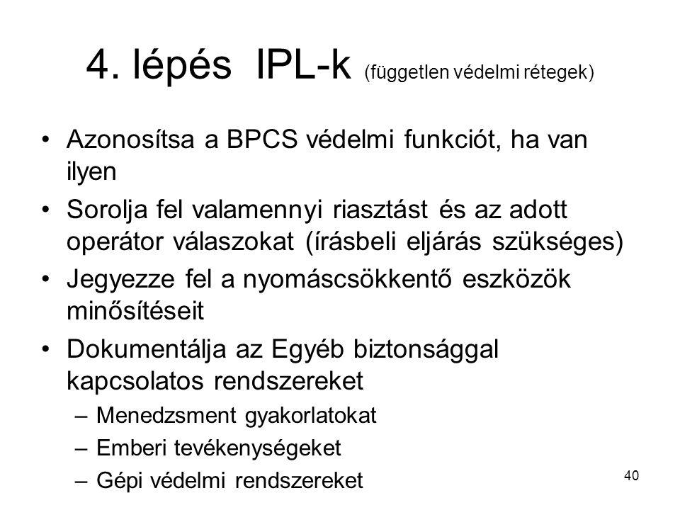 40 4. lépés IPL-k (független védelmi rétegek) Azonosítsa a BPCS védelmi funkciót, ha van ilyen Sorolja fel valamennyi riasztást és az adott operátor v