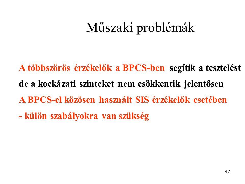 47 Műszaki problémák A többszörös érzékelők a BPCS-ben segítik a tesztelést de a kockázati szinteket nem csökkentik jelentősen A BPCS-el közösen haszn