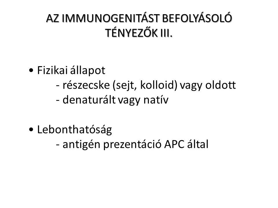 Fizikai állapot - részecske (sejt, kolloid) vagy oldott - denaturált vagy natív Lebonthatóság - antigén prezentáció APC által AZ IMMUNOGENITÁST BEFOLYÁSOLÓ TÉNYEZŐK III.