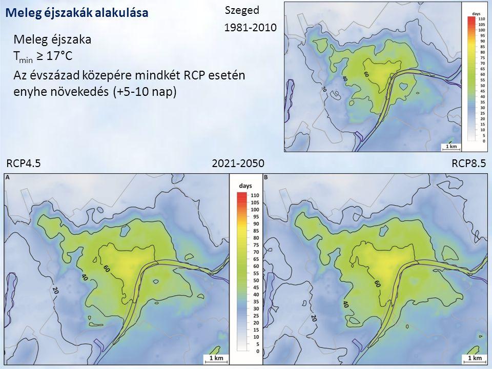 Meleg éjszakák alakulása 2021-2050RCP4.5RCP8.5 1981-2010 Meleg éjszaka T min ≥ 17°C Az évszázad közepére mindkét RCP esetén enyhe növekedés (+5-10 nap