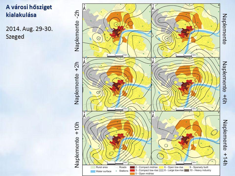 Meleg éjszakák alakulása 2021-2050RCP4.5RCP8.5 1981-2010 Meleg éjszaka T min ≥ 17°C Az évszázad közepére mindkét RCP esetén enyhe növekedés (+5-10 nap) Szeged