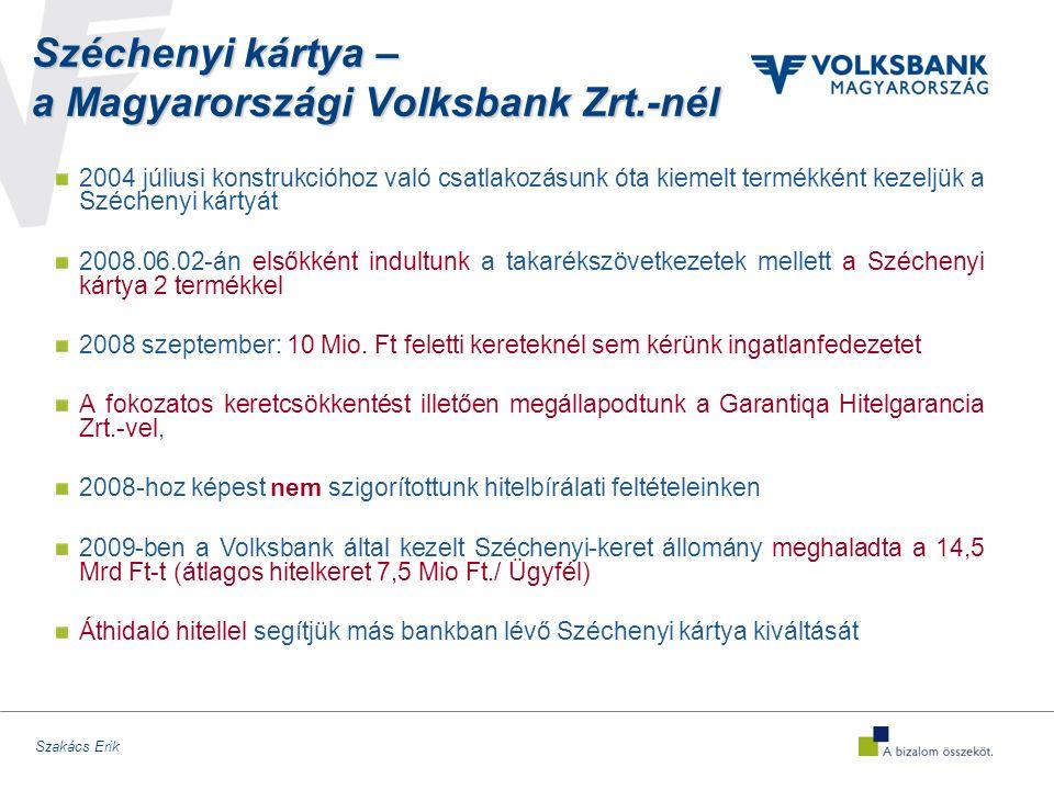 Szakács Erik Széchenyi kártya – a Magyarországi Volksbank Zrt.-nél 2004 júliusi konstrukcióhoz való csatlakozásunk óta kiemelt termékként kezeljük a Széchenyi kártyát 2008.06.02-án elsőkként indultunk a takarékszövetkezetek mellett a Széchenyi kártya 2 termékkel 2008 szeptember: 10 Mio.