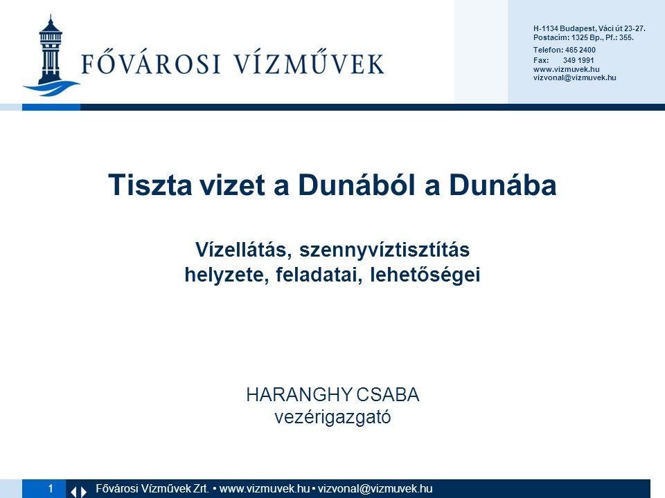 2 Fővárosi Vízművek 147 év üzemeltetési tapasztalat Üzemeltetés Európa 9.