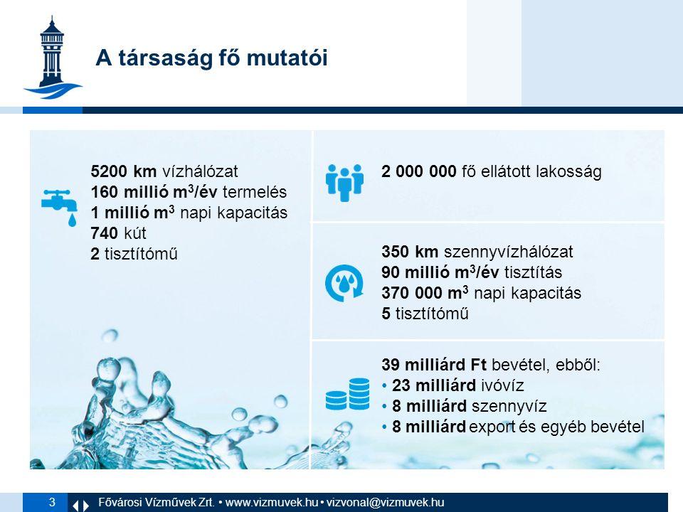 3 A társaság fő mutatói 2 000 000 fő ellátott lakosság 39 milliárd Ft bevétel, ebből: 23 milliárd ivóvíz 8 milliárd szennyvíz 8 milliárd export és egyéb bevétel 5200 km vízhálózat 160 millió m 3 /év termelés 1 millió m 3 napi kapacitás 740 kút 2 tisztítómű 350 km szennyvízhálózat 90 millió m 3 /év tisztítás 370 000 m 3 napi kapacitás 5 tisztítómű Fővárosi Vízművek Zrt.