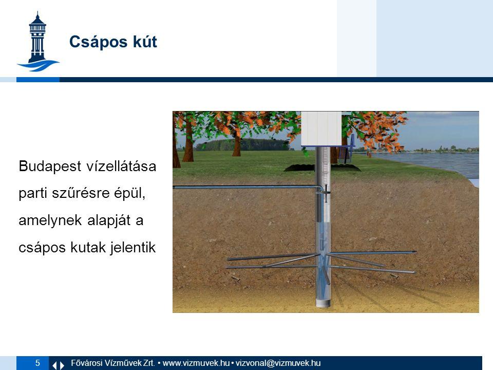 5 Budapest vízellátása parti szűrésre épül, amelynek alapját a csápos kutak jelentik Fővárosi Vízművek Zrt.