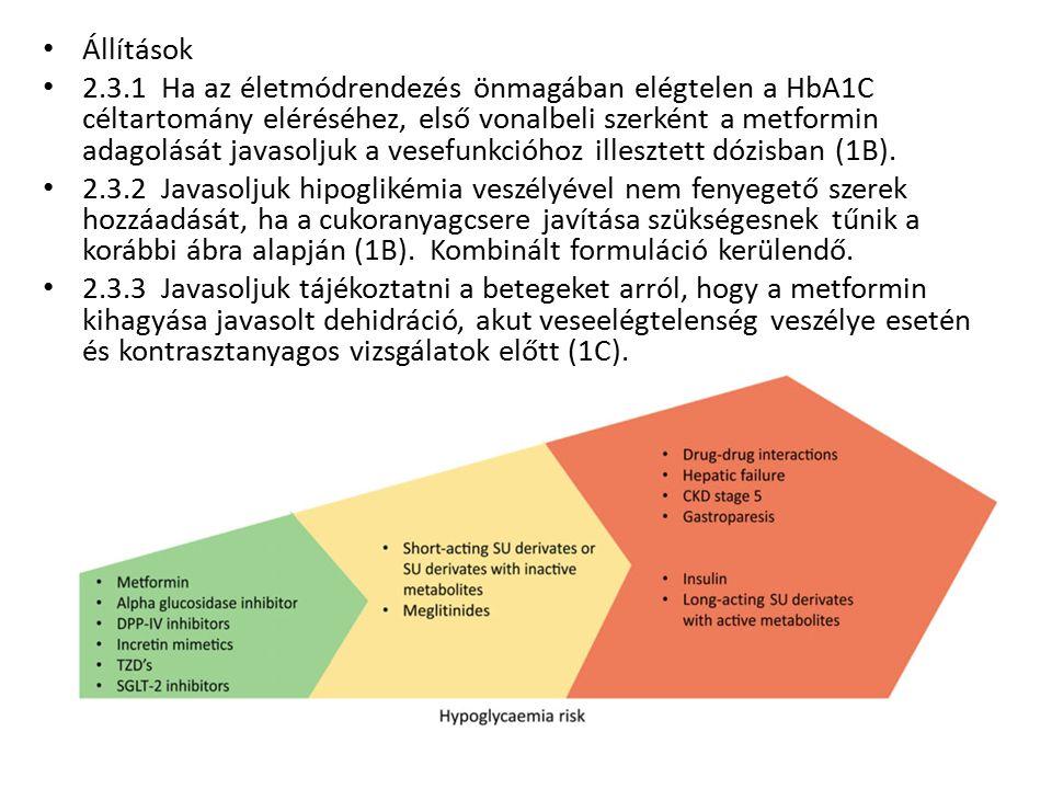 Állítások 2.3.1 Ha az életmódrendezés önmagában elégtelen a HbA1C céltartomány eléréséhez, első vonalbeli szerként a metformin adagolását javasoljuk a vesefunkcióhoz illesztett dózisban (1B).