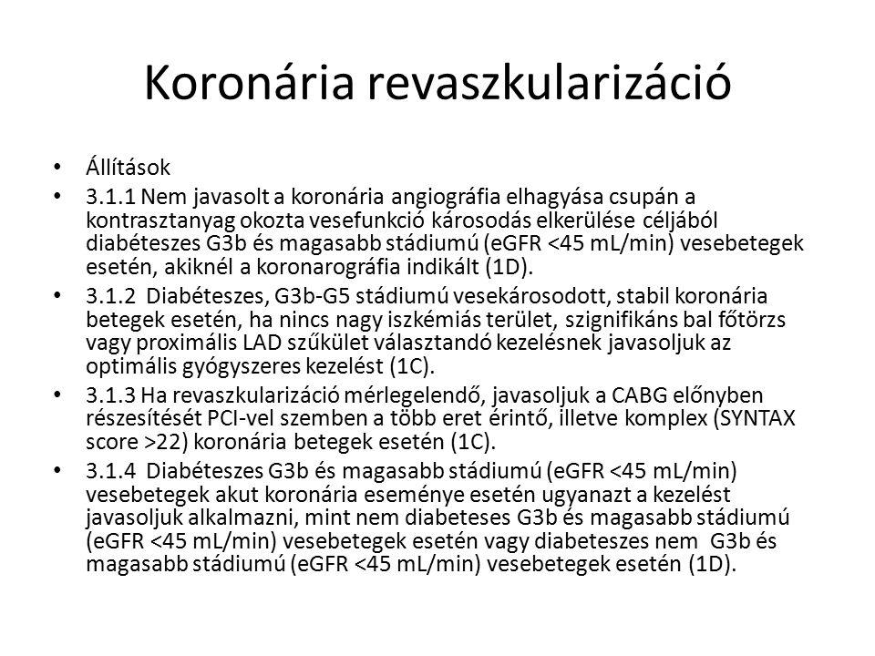 Koronária revaszkularizáció Állítások 3.1.1 Nem javasolt a koronária angiográfia elhagyása csupán a kontrasztanyag okozta vesefunkció károsodás elkerülése céljából diabéteszes G3b és magasabb stádiumú (eGFR <45 mL/min) vesebetegek esetén, akiknél a koronarográfia indikált (1D).