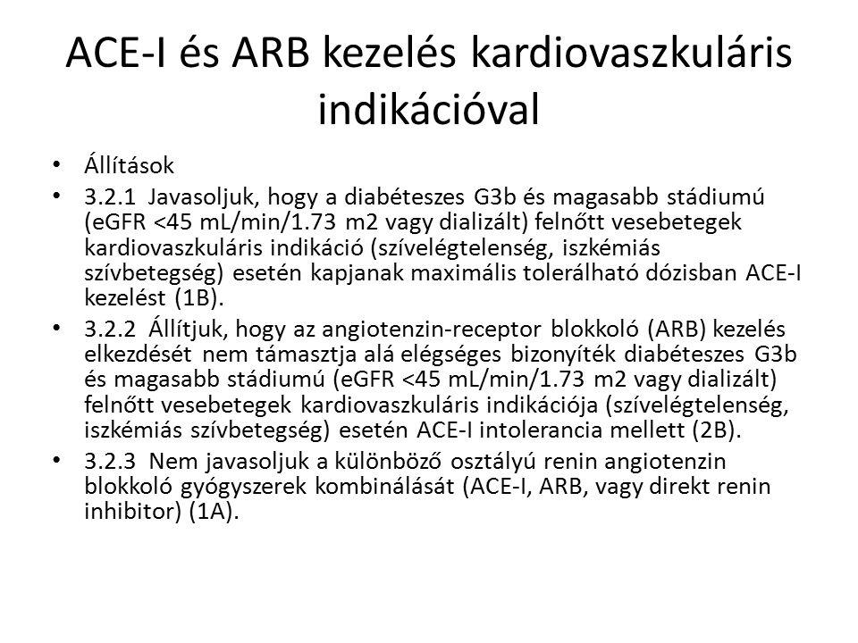 ACE-I és ARB kezelés kardiovaszkuláris indikációval Állítások 3.2.1 Javasoljuk, hogy a diabéteszes G3b és magasabb stádiumú (eGFR <45 mL/min/1.73 m2 vagy dializált) felnőtt vesebetegek kardiovaszkuláris indikáció (szívelégtelenség, iszkémiás szívbetegség) esetén kapjanak maximális tolerálható dózisban ACE-I kezelést (1B).