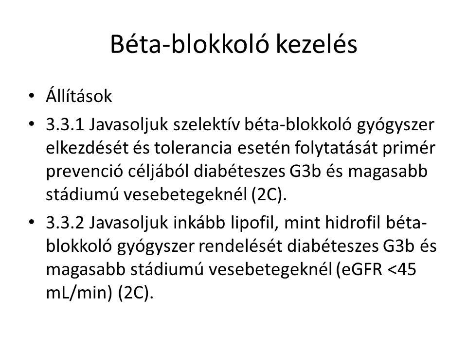 Béta-blokkoló kezelés Állítások 3.3.1 Javasoljuk szelektív béta-blokkoló gyógyszer elkezdését és tolerancia esetén folytatását primér prevenció céljából diabéteszes G3b és magasabb stádiumú vesebetegeknél (2C).