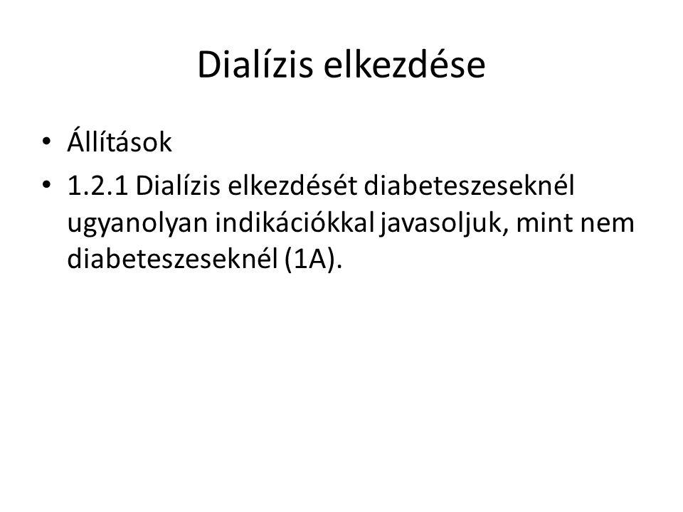 Dialízis elkezdése Állítások 1.2.1 Dialízis elkezdését diabeteszeseknél ugyanolyan indikációkkal javasoljuk, mint nem diabeteszeseknél (1A).
