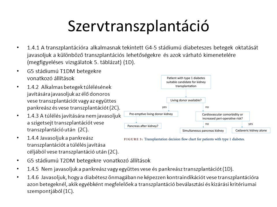 Szervtranszplantáció 1.4.1 A transzplantációra alkalmasnak tekintett G4-5 stádiumú diabeteszes betegek oktatását javasoljuk a különböző transzplantációs lehetőségekre és azok várható kimenetelére (megfigyeléses vizsgálatok 5.