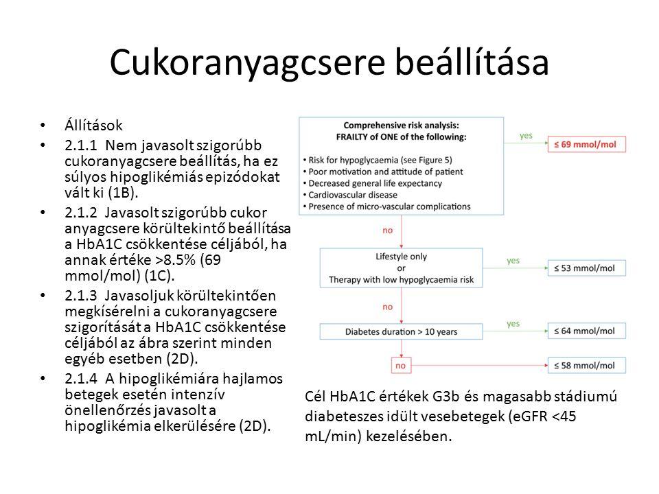 Cukoranyagcsere beállítása Állítások 2.1.1 Nem javasolt szigorúbb cukoranyagcsere beállítás, ha ez súlyos hipoglikémiás epizódokat vált ki (1B).